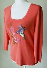 SWEATERWORKS Women Shirt Medium Ribbed Sparkle Orange Sequin Bead Bird Flower