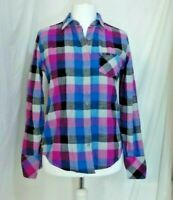 ROXY blouse shirt checked pinks blues 100% Cotton Size L 14 Chest 41 Ex Con