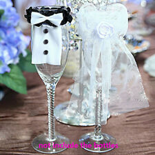 2Pcs Wedding Party Wine Glass Decoration Bride Groom Tux Bridal Veil Toast Gifts