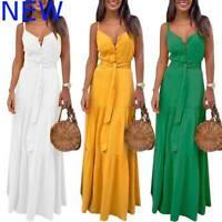 Dress Evening Maxi Boho Dresses Cocktail Party Sleeveless Casual Sundress V Neck