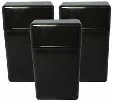 3 Pack Black Flip Top Hinged Lid Sectioned Cigarette Case for 100's - 2607