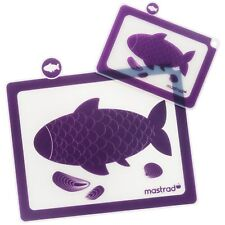 Mastrad Purple Cutting Board Set of 2 Purple Non-Skid Surface Silicone Backing