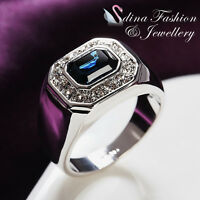 18K White Gold GP Made With Swarovski Crystal Radiant Cut Sapphire Men`s Ring
