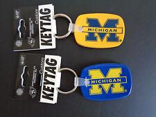 MICHIGAN WOLVERINES Keytag Key Ring Pair Keychain Rubber Blue Gold NEW FreeShip