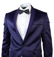 Mens Slim Fit Satin Dinner Suit Tuxedo Wedding Party Black Trim 1 Button Purple