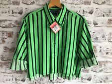 WOMENS REWORKED RALPH LAUREN SHIRT SIZE 12/14 RETRO OVERSIZED CROP TOP VINTAGE