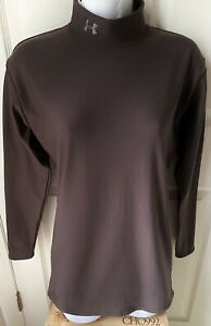 """UNDER ARMOUR """"BODY GEAR"""" WOMEN BROWN MOCK TURTLENECK COMPRESSION L/S TOP - LARGE"""