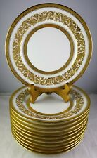 11 Antique Limoges Raised Heavy Gold Dessert Plates Patented Bailey Banks Biddle