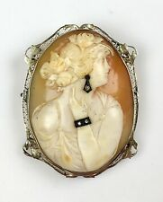 Really Pretty 1930s 14K Gold Lg Cameo Pin Pendant   2 Diamond Jewels RARE EP830