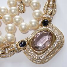 VINTAGE CINER GOLD PLATE PEARL SAPPHIRE BLUE PINK CRYSTAL RHINESTONE NECKLACE