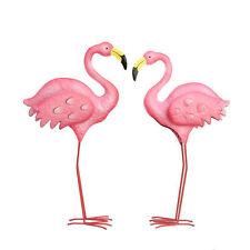 2 X Pink Flamingos Metal Yard Garden Lawn Art Ornaments Wedding Decorations