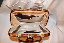Vintage Faux Wicker Straw and Brown Lucite Purse Handbag 50s/60s type Tropical