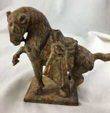 Antique Iron Casting Samarai Horse Japan Original Patina Vintage Cast Heavy
