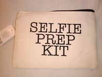 """Selfie Prep Kit"" CANVAS PURSE COSMETICS MAKE-UP POUCH WALLET BAG"