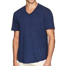 James Perse Men's Short Sleeve Clear Jersey V Neck T-Shirt Cotton Blue Submarine