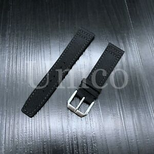 21 MM CANVAS LEATHER WATCH BAND STRAP FOR IWC PILOT TOP GUN PORTUGUESE BLACK