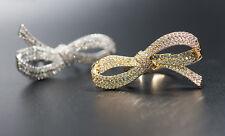 18k Gold GP Large Bow Knot Infinity Ring made w Swarovski Crystal Stone Gorgeous