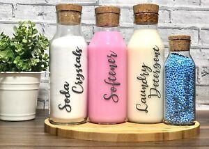 Laundry cork jars Softener & Liquid tabs Glass cork bottle Laundry Storage Jar