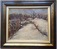 Tableau Impressionnisme Paysage La Vigne sous la Neige Huile signée LAUTARD