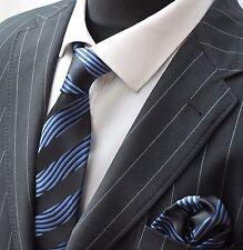 Tie Neck tie with Handkerchief Black & Electric Blue Twist Stripes