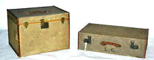 A pair of Vintage 1940's Matthew Rose and Sons Suitcase Steamer Trunk [PL3028]