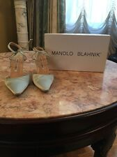 MANOLO BLAHNIK Seafoam Light Green Satin Ankle Tie Pump. Size 37.