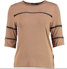 NEW, BOOHOO Lace Inset 3/4 Sleeve Tee Shirt, size 12 (Beige)
