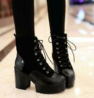 Womens Gothic Pumps Chunky High Heels Lace Up Platform Ankle Boots Punk Shoes SZ