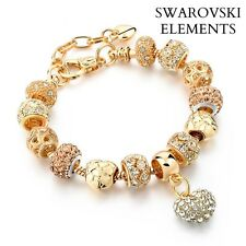 Bracelet gourmette charms coeur perles doré/ BRONZE Swarovski® Elements pq or