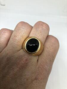 Vintage Black Onyx Mens Ring Golden Stainless Steel Size 12
