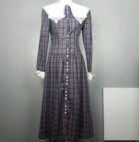 Rare VTG Jessica McClintock Gunne Sax Collared Plaid Front Button Fitted Dress