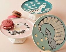 NEW ANTHROPOLOGIE SET OF 3 MINI CAKE STANDS:SQUIRREL,CAT,DEER CORINNA COLLECTION
