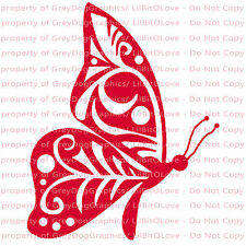 Filigree Butterfly Vinyl Decal Auto Tattoo Sticker Curly Car Vehicle Floral
