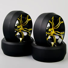 4PCS 1:10 RC Car Hard Speed Drift 0 Degree Tires Tyre Wheel Rims MPNKG For HPI
