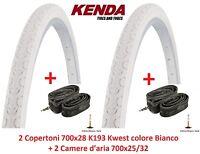 """2 Copertoni Kenda 700x28 Kwest Bianco + 2 Camere per bici 28"""" Fixed Scatto Fisso"""