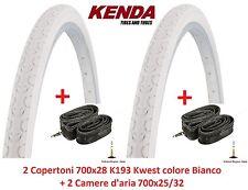 """2 copertoni KENDA 700x28 kwest Bianco 2 camere D'aria per bici 28"""" Trekking"""