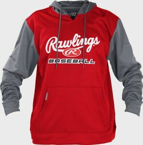 NWT Rawlings Youth Long Sleeve Hoodie Scarlet/Grey Size Small
