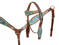 Showman Leather PONY Headstall/Breast Collar Set w/ Psychedelic Swirl Design NEW