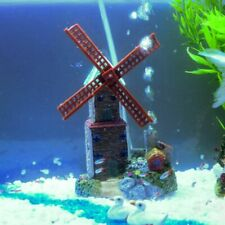 Windmill Castle Aquarium Decoration Ornament Waterwheel Rock Stone For Fish Tank