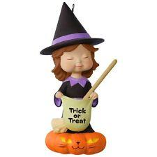 Sweet Trick-or-Treater Witch 2017 Hallmark Halloween Ornament  Pumpkin Black Cat