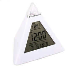 Fashion Pyramid Temperature 7 Colors LED Change Backlight LED Alarm Clock Xmas