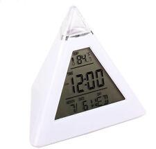Fashion Pyramid Temperature 7 Colors LED Change Backlight LED Alarm Clock Xmas