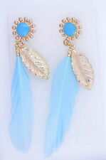 Super lovely blue feather and gold flower and leaf dangle earrings