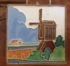 Vintage Westraven Utrecht Made In Holland Cloisonne Enamel Ceramic Tile Windmill
