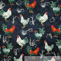 BonEful Fabric FQ Cotton Quilt Black Country Farm Red Rooster Feather Green Xmas