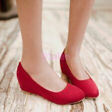 HOT Womens Satin Shoes Hidden Wedge Low Heel Round Toe Flat Pumps Slip on Spring