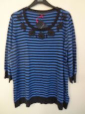 BNWT LADIES M&S PER UNA RANGE 3/4 LENGTH SLEEVED BLUE MIX JUMPER/TOP SIZE 24