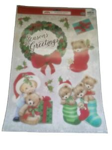 Holiday Time Christmas Winter Window Clings Teddy Bears Stockings Wreath Décor