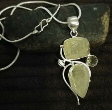 "Natural Rough Lemon Quartz stone pendant 2.75"" with 18"" chain"