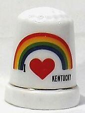 Souvenir I love Kentucky thimble with rainbow red heart